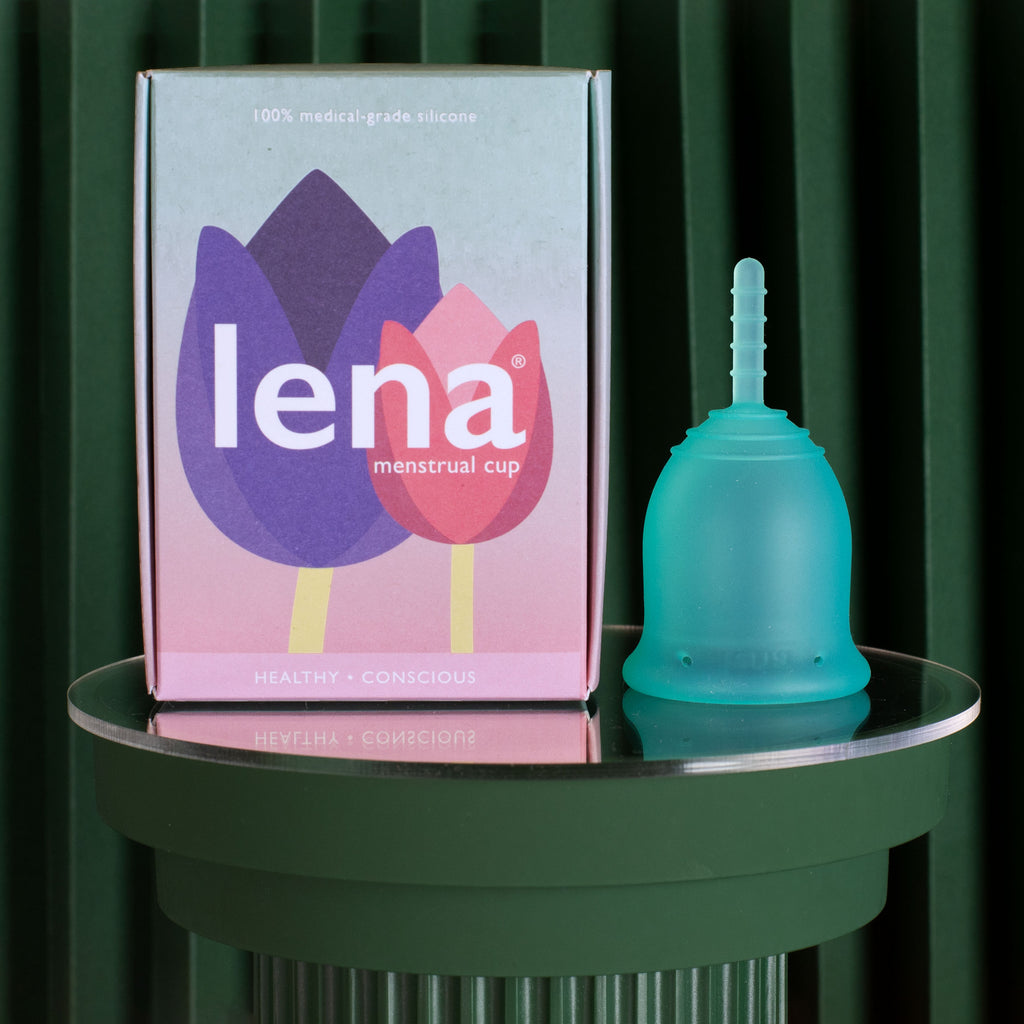 Lena menstrual cup with packaging in turquoise size small