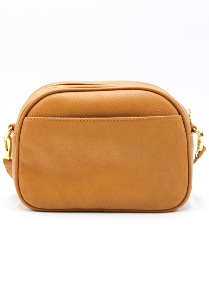 Lucia Curve Cross Body Bag - Tan