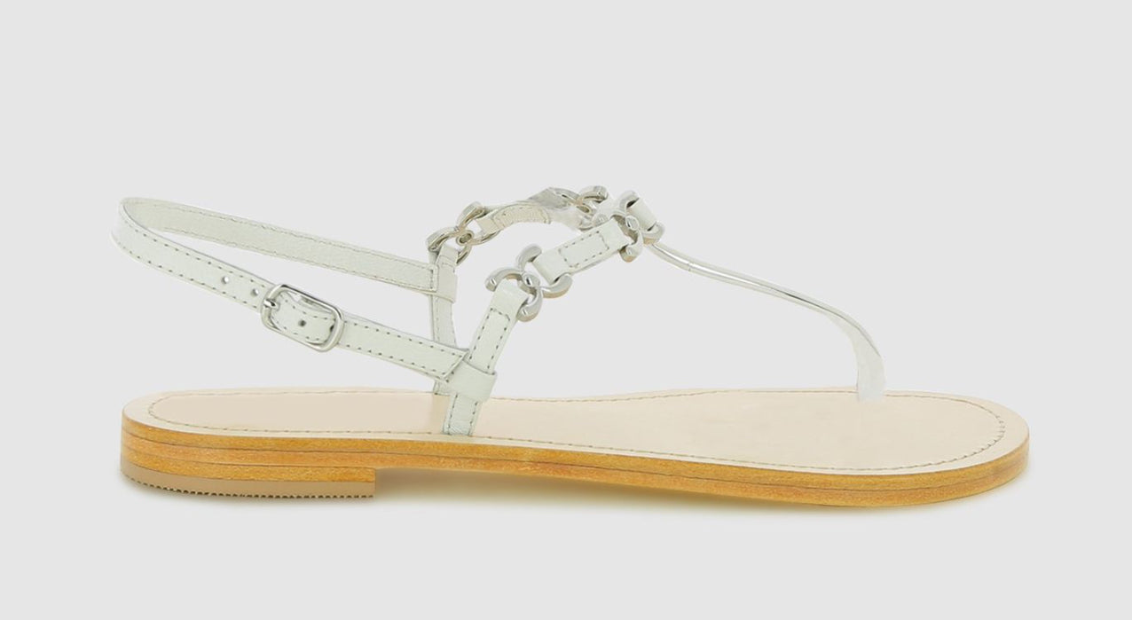 Abby Trim Thong Sandal - White