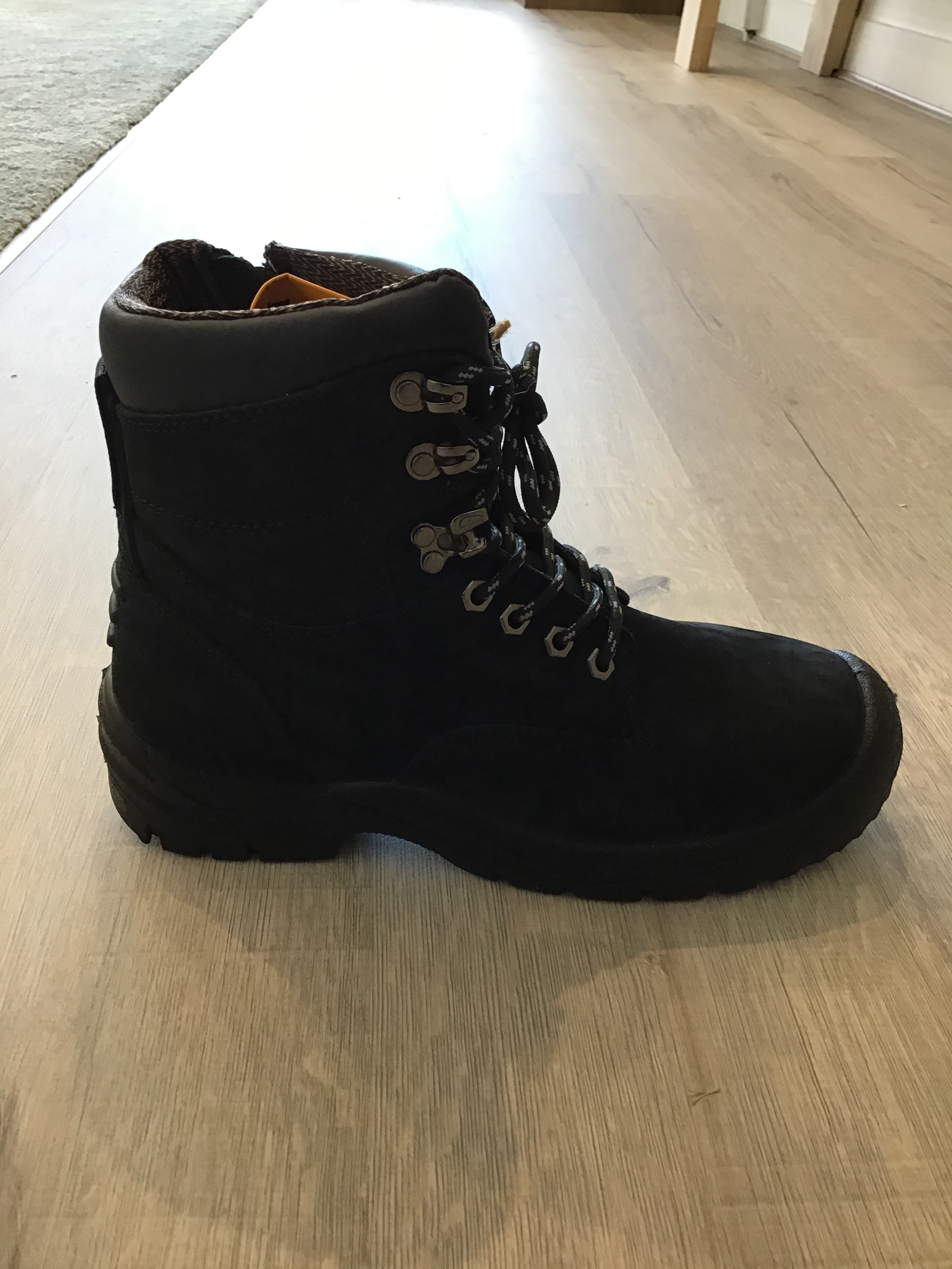 Best Ever Boots Hawk Zip sided Lace Up Black safety work boot