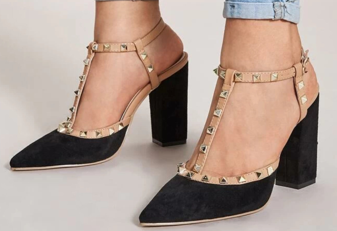 Sass - High heel - Black/Tan