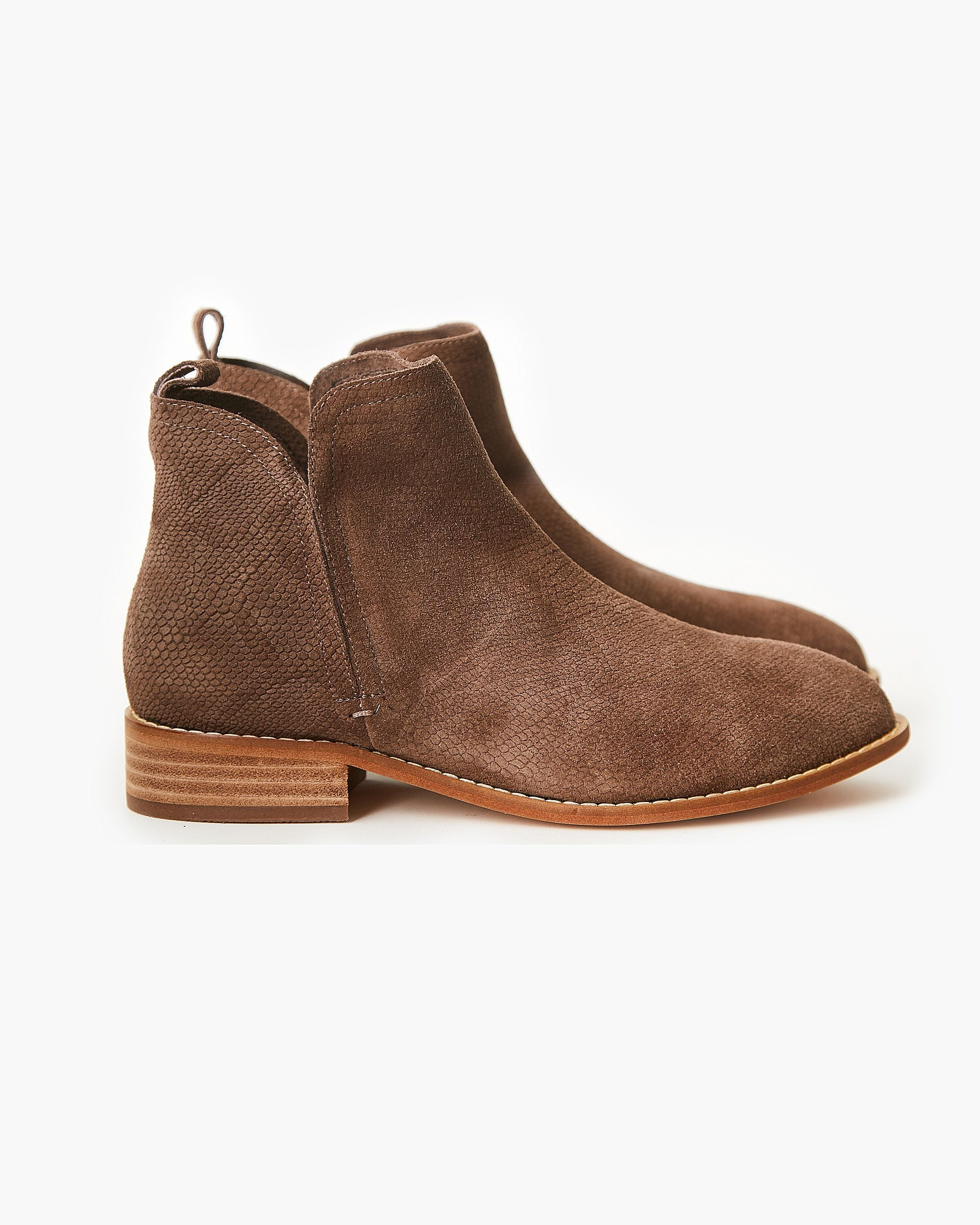 Walnut Douglas Leather Boot - Taupe Snake