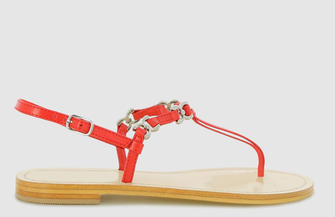 Abby Trim Thong Sandal - Red