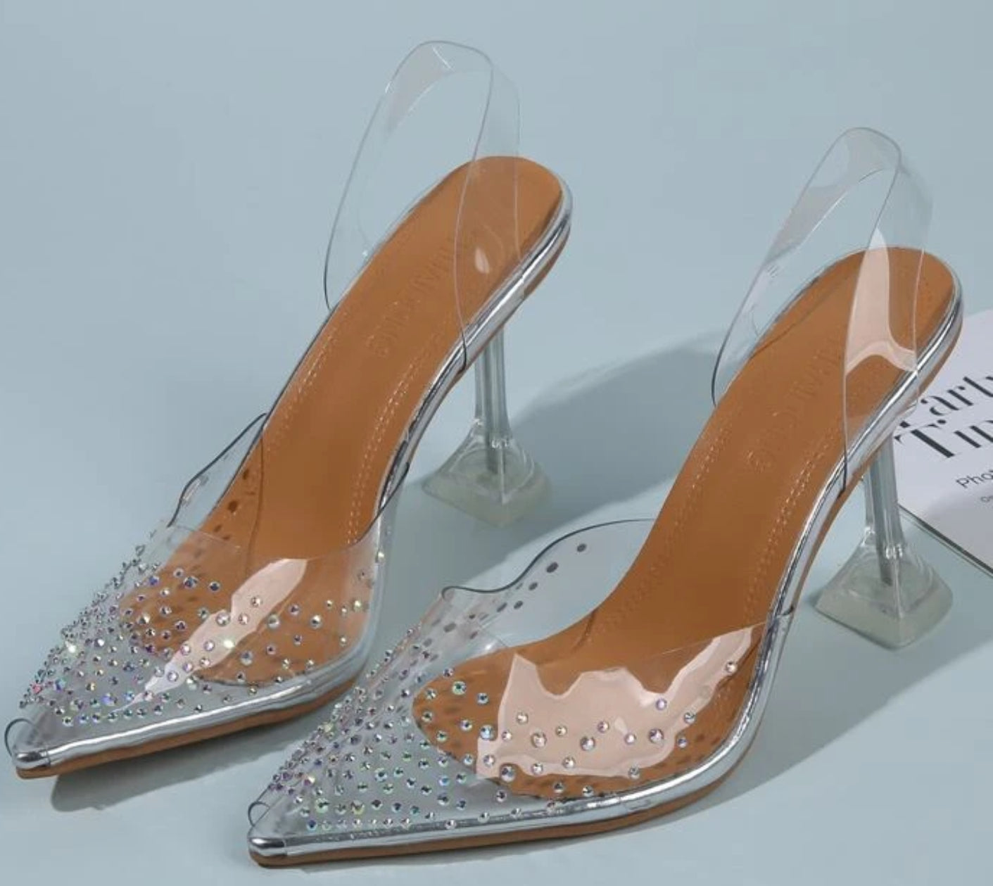 Lara - High heel - Clear & Rhinestone