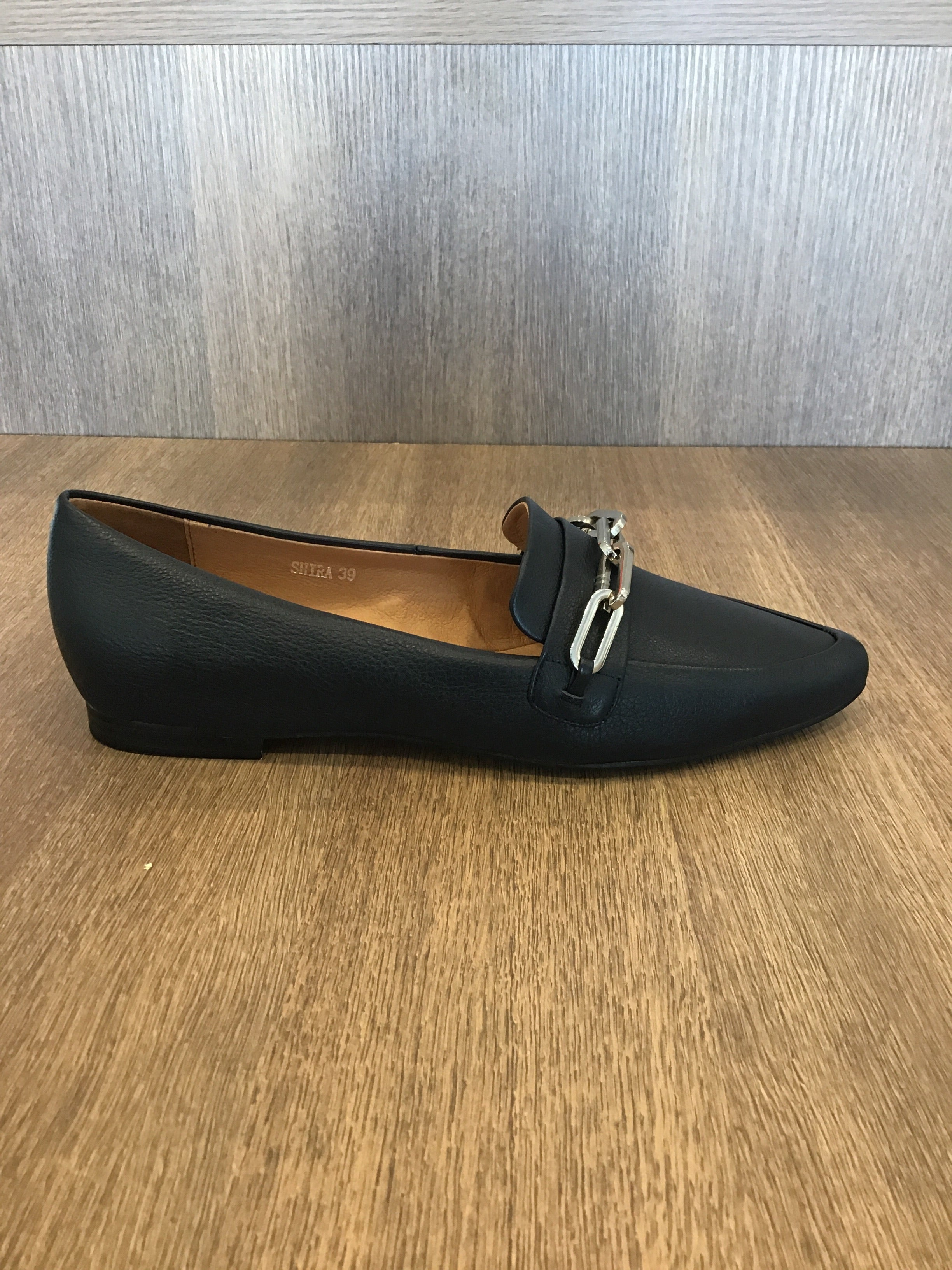 Shira Navy leather slip on