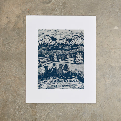 Adventures | 16 x 20 | Linoleum Block Print