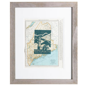 Shelter | 16 x 20 | Framed Linoleum Block Print - Maine
