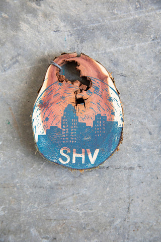 Shreve Skyline Wooden Hand Printed Ornament