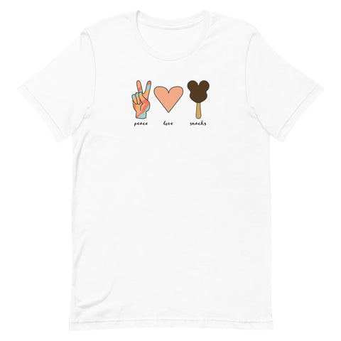 Peace, Love, Snacks Unisex T-Shirt