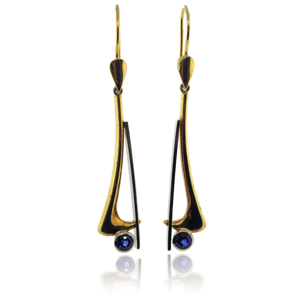 18K Y/W Gold Sapphire Earrings