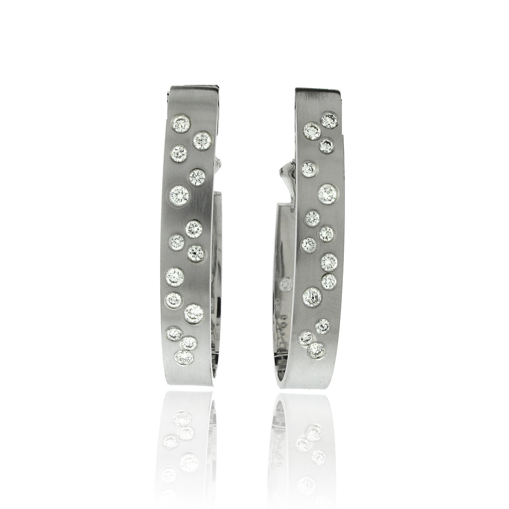 14k White Gold Contemporary Diamond Earrings