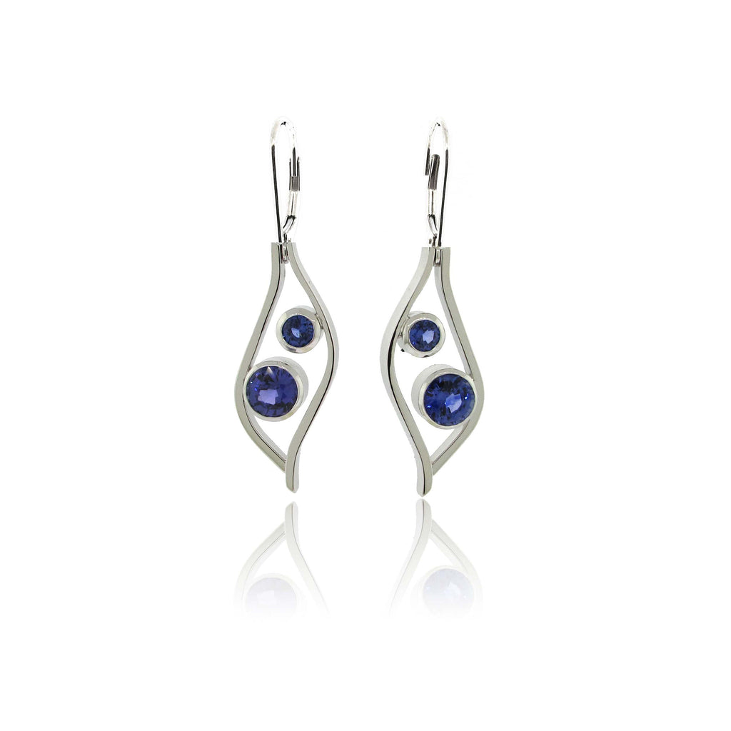 14K White Gold Sapphire Drop Earrings
