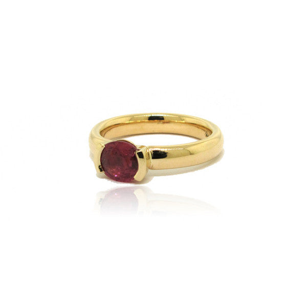 14k Yellow Gold Half Bezel Ruby Ring