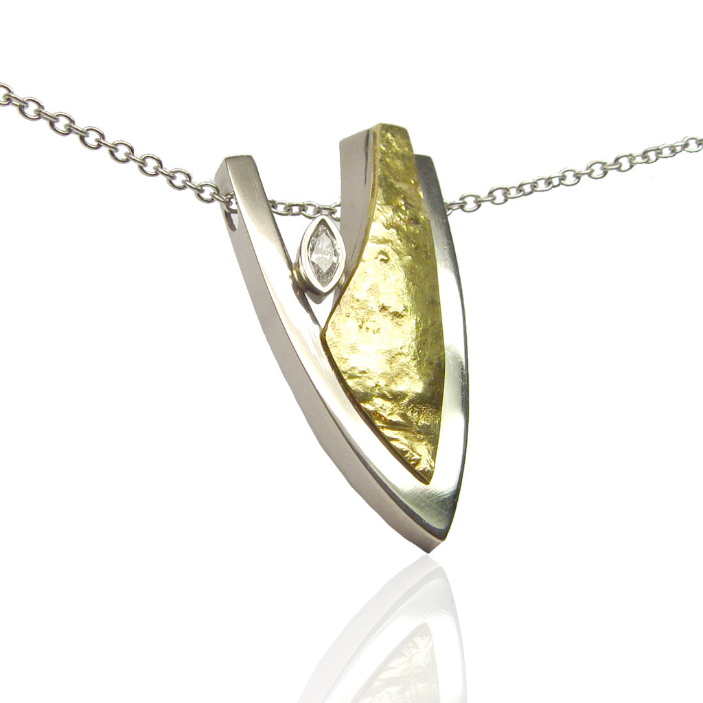 Y/W Gold with Marquise Diamond Pendant