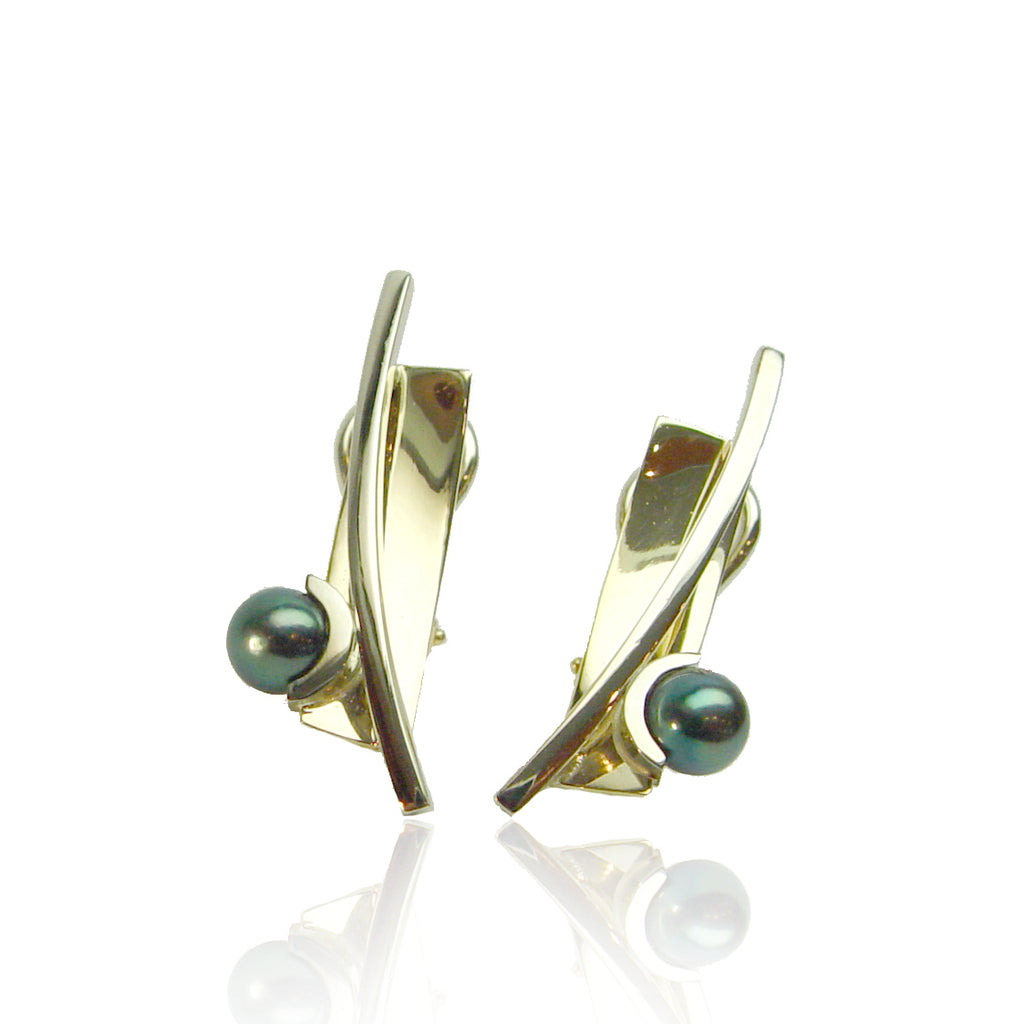 14K Y/G Tahitian Pearl Earrings
