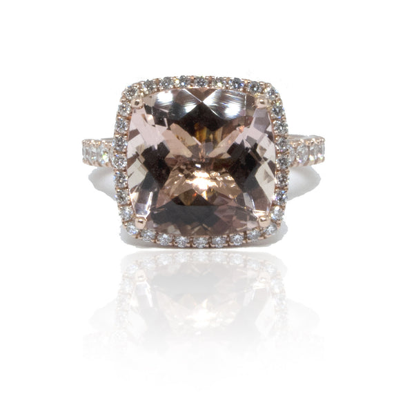 14K R/G Morganite and Diamond Ring