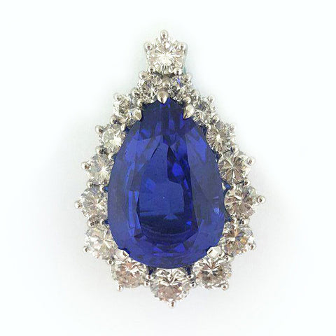 18K W/G Tanzanite and Diamond Pendant