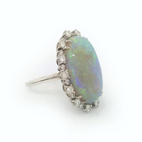 18K W/G Opal and Diamond Ring