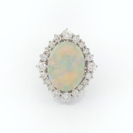 14K W/G Opal and Diamond Ring