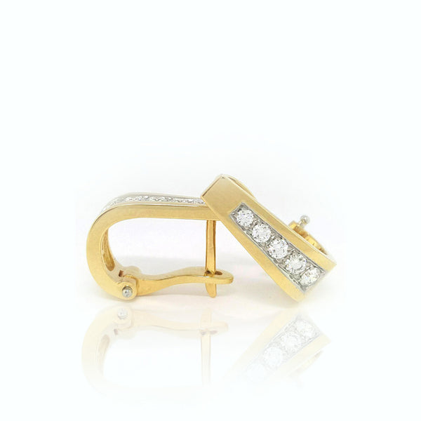 18K Y/W Diamond Earrings