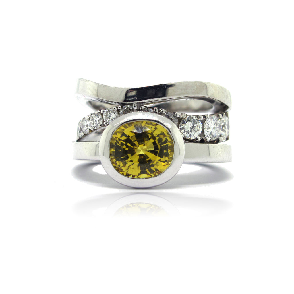 14K W/G Yellow Sapphire and Diamond Ring