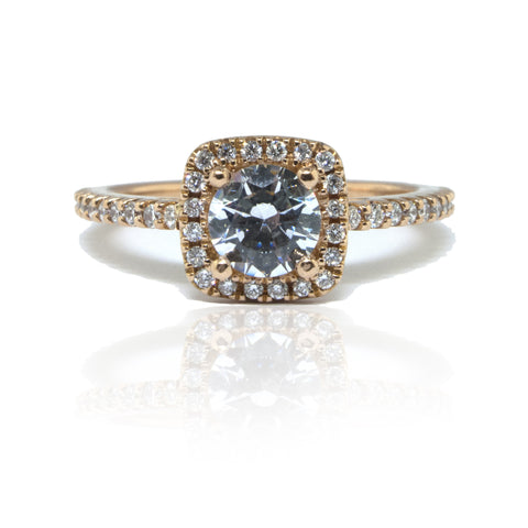 14K R/G Semi-Mount Halo Diamond Ring