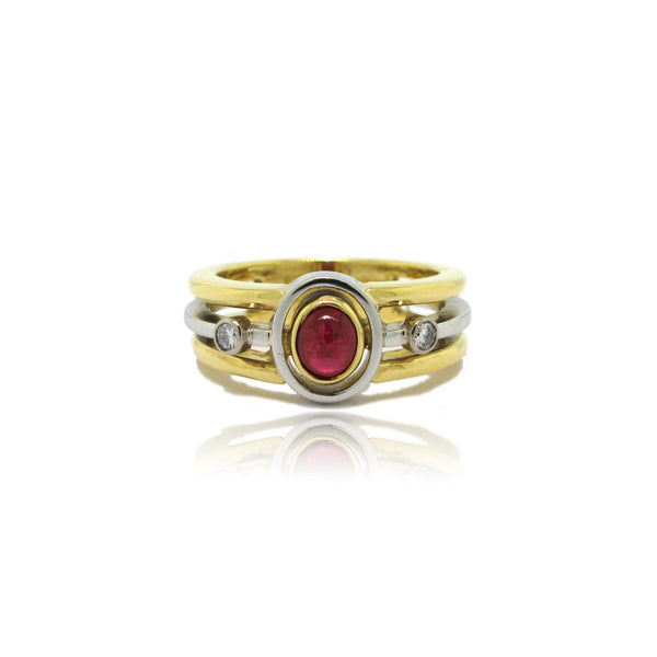 18K Yellow Gold and Platinum Ruby and Diamond Ring