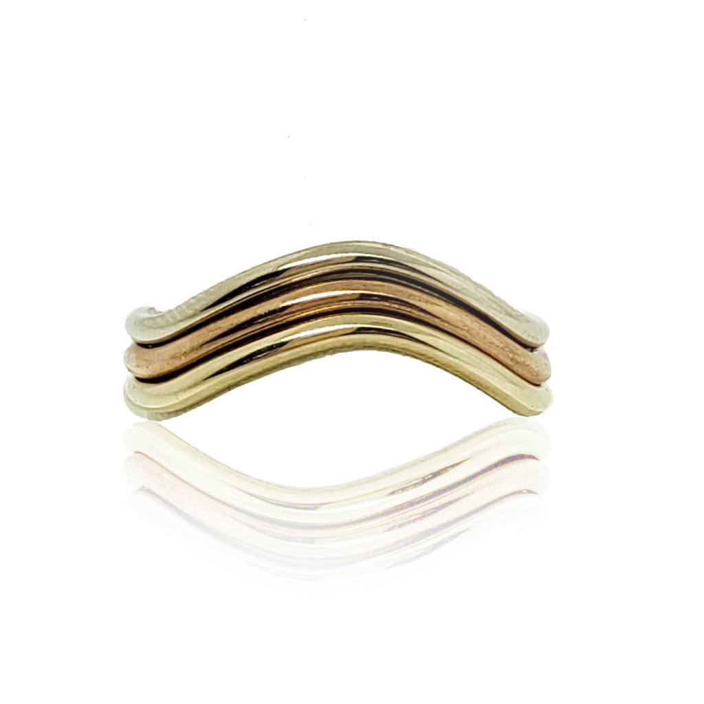 10K Tri-Gold Wave Design Stacking Ring