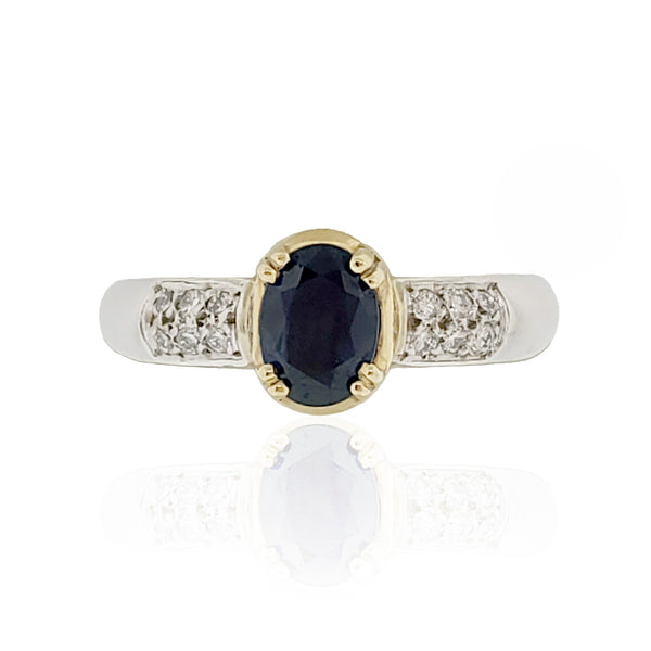 18K W/Y Sapphire and Diamond Ring