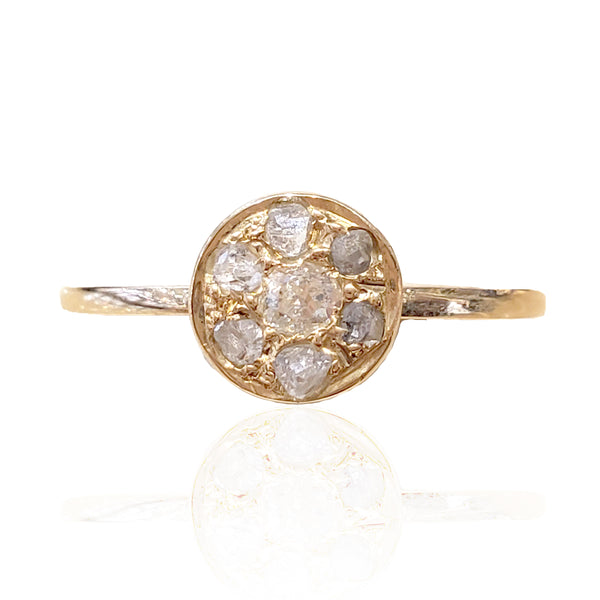 Vintage 1800's 14K Y/G Old Mine Cut Diamond Ring