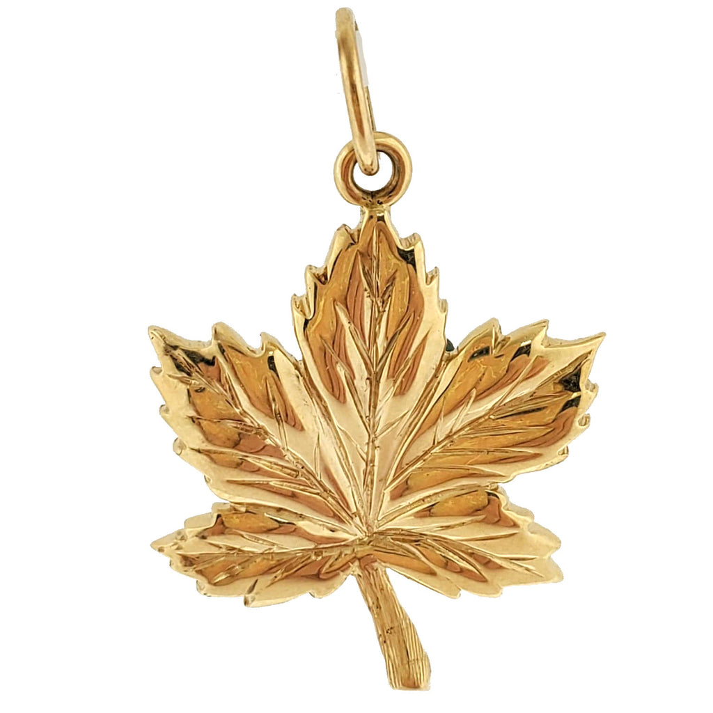 18k y/g Maple Leaf Charm Pendant
