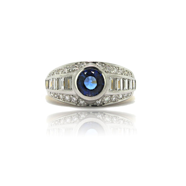 Platinum and 18K Y/G Sapphire and Diamond Ring