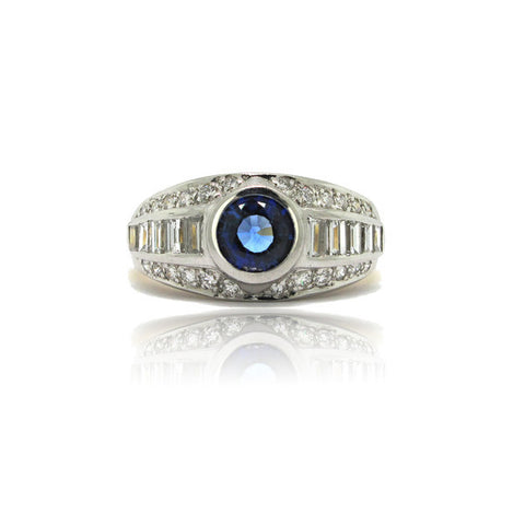 Platinum and 18k White Gold Sapphire and Diamond Ring