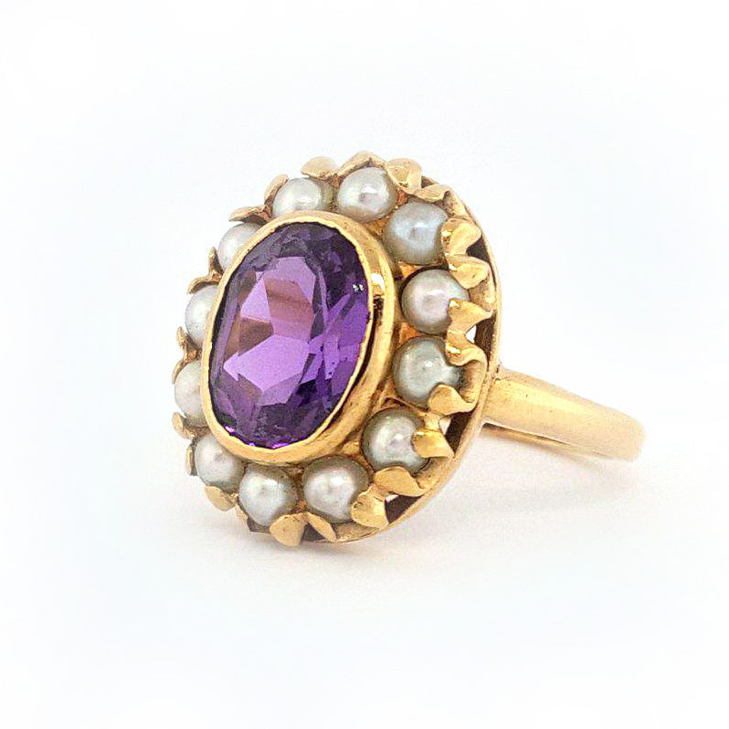 10K Y/G Amethyst and Pearl Ring