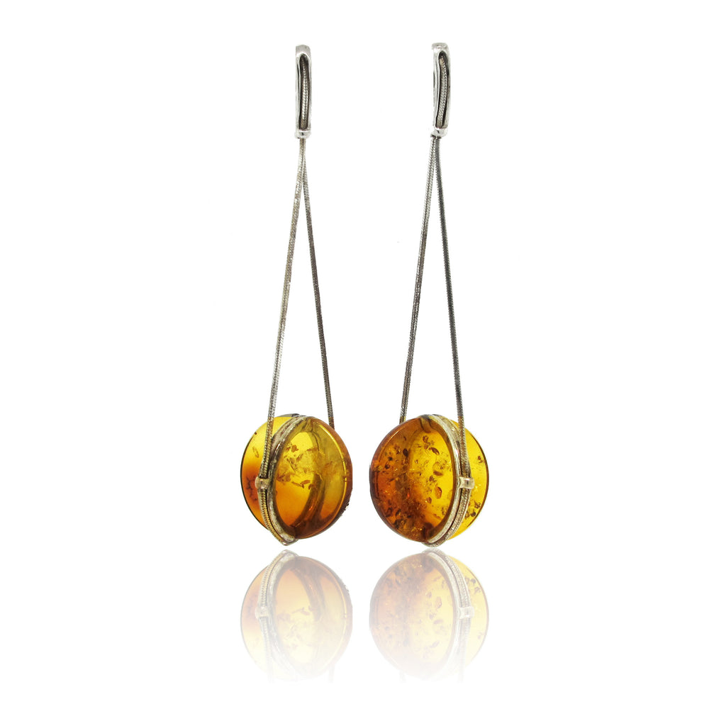Sterling Silver and Amber Disk Earring