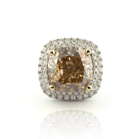 Fancy Brown-Yellow Canary Diamond Engagement Ring