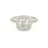 14K W/G Radiant Cut Halo Diamond Ring
