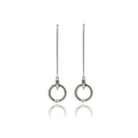 Tension Set Circular Diamond Dangle Earrings