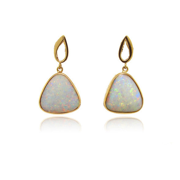 Yellow Gold and Opal Earrings