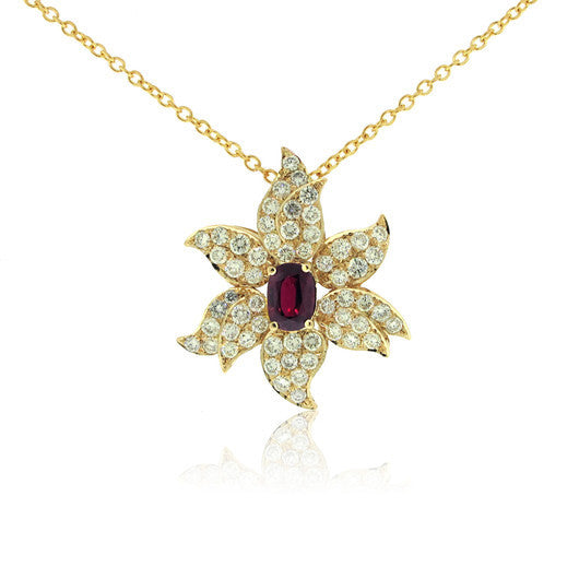 Custom Diamond and Ruby Flower Pendant
