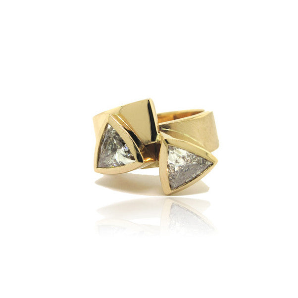 Custom Yellow Gold and Diamond Trilliant Ring