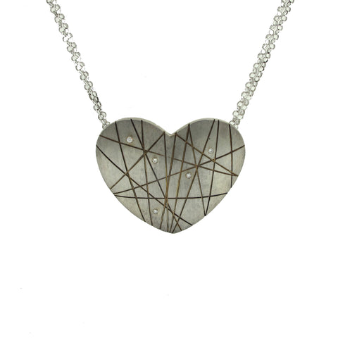 Solid Sterling Silver Abstract heart