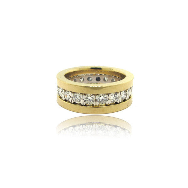 18k Yellow Gold and Platinum Diamond Eternity Band