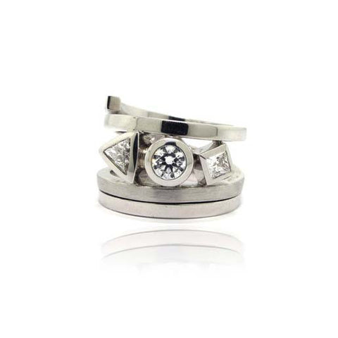 14K White Gold and Diamond Custom Ring