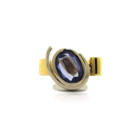 18k Two Tone Gold Sapphire Ring