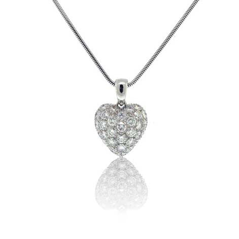 2.55ct Diamond Heart Pendant in 18k White Gold