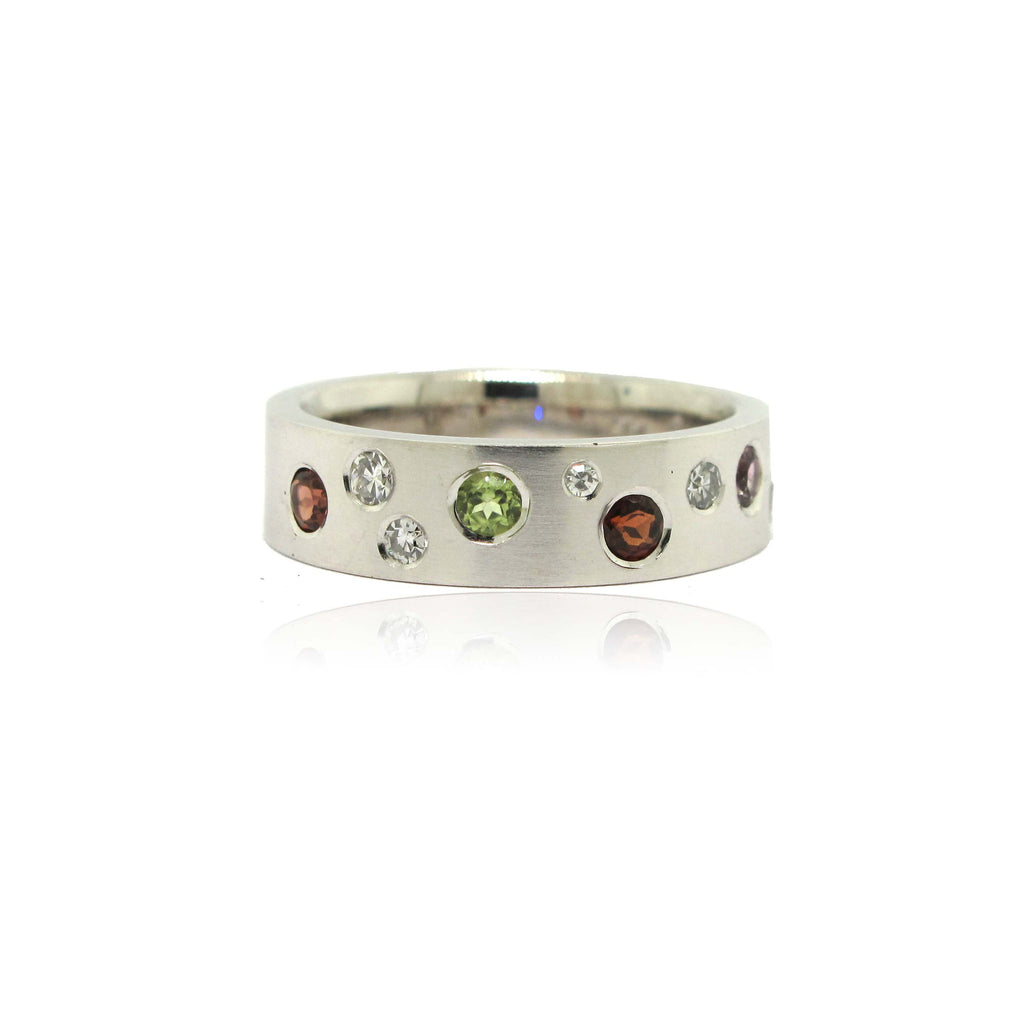 Garnet, Peridot and Diamond Family Ring