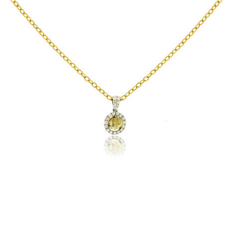 14k White Gold Halo Pendant with Natural Rough Diamond
