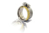 14k White Gold and 22k Yellow Gold Diamond Architect Ring