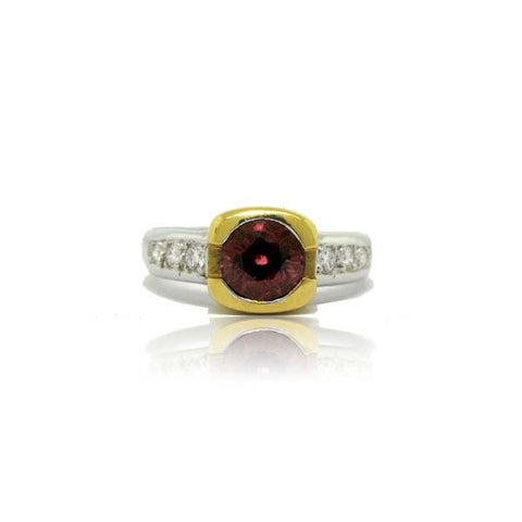 14k White Gold and 18k Yellow Gold Rhodolite Garnet Ring